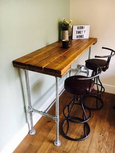 Items similar to industrial style breakfast bar / breakfast bar / metal breakfast bar on etsy - Studio Apartment Free Standing Breakfast Bar, Small Breakfast Bar, Breakfast Bar Kitchen, Breakfast Bars, Art Studio At Home, Home Art, Diy Dining Room Table, Home Styles Exterior, Up House