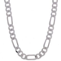 Men's Sterling Silver Figaro Chain Link Necklace. Bling Bling!