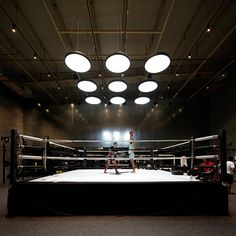 Materials used throughout The Burrow boxing club in Kuwait were influenced by the simple interiors of retro gyms