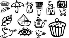 A selection of the 70+ drawn icons created for window vinyls at Sharky's Community Cafe, The Harbour, Blackpool.