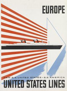 EUROPE / UNITED STATES LINES. Circa 1952.