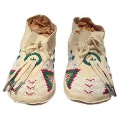 White Beaded Background Moccasins w. Tin Cone Dangles $386.00