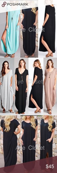Sexy maxi dress Boho oversized loose fit pockets New boho chic maxi dress.Super comfy. Oversized, loose fit  v-neck long maxi dress featuring side slits and side pockets. high quality and stretchy fabric. Runs big. And meant to be. color: Black or mocha to choose from. Model is wearing size SMeasurements takes from size SLength: 59Chest: 23  ❌price firm unless bundl⭕️ Dresses Maxi