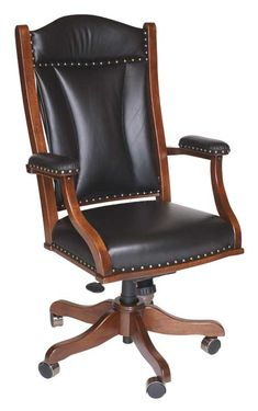 Amish Executive Office Desk Chair  Swiss Valley Rockers  Handcrafted using solid wood  Built by the Amish  Upholstered with plush cushions  Many options available  Made in the USA  And will satisfy your craving for a comfortable chair for the workplace.