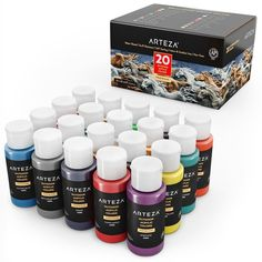 Outdoor Acrylic Paint, 59ml Bottles - Set of 20 | ARTEZA Outdoor Acrylic Paint, Acrylic Paint Set, Acrylic Colors, Outdoor Paint, Metallic Paint, Creative Pencil Drawings, Colores Faber Castell, Just Shop, Beautiful Drawings
