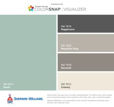 I found these colors with ColorSnap® Visualizer for iPhone by Sherwin-Williams: Hazel (SW 6471), Peppercorn (SW 7674), Requisite Gray (SW 7023), Dovetail (SW 7018), Creamy (SW 7012). Paint Color App, Paint Color Schemes, Room Paint Colors, Exterior Paint Colors, Exterior House Colors, Wall Colors, Accent Colors, Exterior Trim, White Living Room Paint