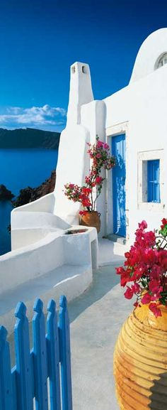 Santorini Terrace 597 Door Mural by Ideal Decor Oia Santorini, Santorini Island, Places Around The World, Oh The Places You'll Go, Door Murals, Wall Mural, Greek Isles, Bougainvillea, Vacation Spots