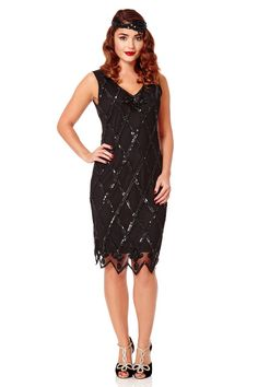 Gatsbylady Liz 1920's Vintage Inspired Flapper Dress in Black