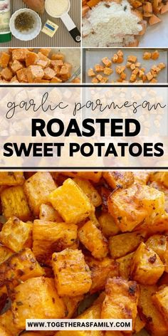 Roasted Sweet Potatoes are roasted in butter, olive oil, parmesan cheese, garlic, and seasonings. A crispy charred outside with a soft sweet potato center. One bowl and a few simple ingredients are all you need for this delicious side dish recipe.