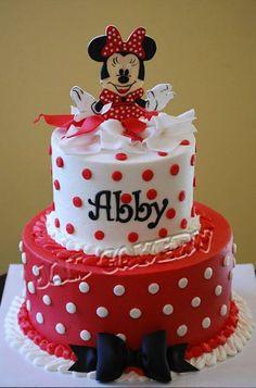 Red and white Minnie cake