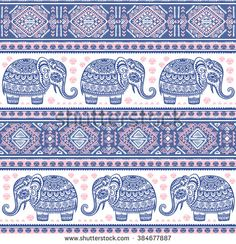 Vintage vector Indian elephant seamless pattern with tribal ornaments.  - stock vector