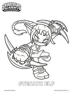 free skylanders stealth elf coloring page