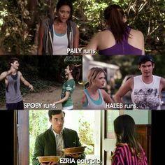 Paily runs, Haleb runs, Spoby runs and Ezria eat pie.