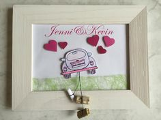 Wedding present with money (the cans behind the car) Wedding Frames, Wedding Cards, Diy Wedding, Sports Party Favors, Wedding Present Ideas, Creative Money Gifts, Homemade Wedding Gifts, Diy And Crafts, Arts And Crafts