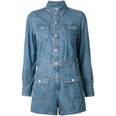 Alexa Chung For Ag Jeans 'Loretta' denim playsuit (8,235 MXN) ❤ liked on Polyvore featuring jumpsuits, rompers, blue, playsuit romper, denim rompers, denim romper, blue rompers and blue romper