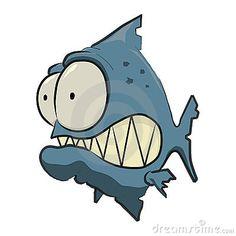 Blue Piranha Cartoon with big teeth and big eyes. Easy Fish Drawing, Fish Drawings, Art Drawings, Cartoon Sketches, Animal Sketches, Animal Drawings, Cartoon Sea Animals, Cartoon Fish, Graffiti