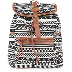 Tribal Print Backpack with Faux Leather Trim