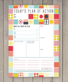 Printable Day Planner Family Organiser Mid Century Colourful Pattern. £2.50, via Etsy.