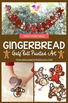 Looking for a fun gingerbread art activity for toddlers and preschoolers? This process art method uses golf balls and paint! Free printable included. #Christmas #printable #art #toddlers #preschool #teaching2and3yearolds