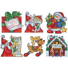 Design Works Counted Cross Stitch Kit Santa's Workshop Ornaments