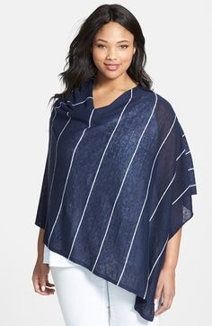 Eileen Fisher Stripe Organic Linen Poncho (Plus Size) available at #Nordstrom
