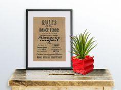 Rules of the dance floor Burlap Hessian Print by inspiredcompany4u