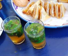 mint tea with pastries