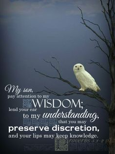 My son, pay attention to my wisdom; lend your ear to my understanding, that you may preserve discretion, and your lips may keep knowledge. Pro 5:1-2 <3