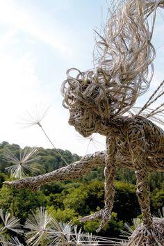 fantasy wire sculptures by robin wight 8 Sculpture Metal, Modern Sculpture, Abstract Sculpture, Garden Sculpture, Wire Sculptures, Robin Wight, Fantasy Wire, Sacred Garden, Garden Statues
