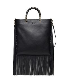 Gucci Nouveau Bamboo Leather Fringe Tote Bag