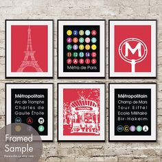 Paris Metro Train Station (Series D) - Set of 6 Art Prints (Paris Inspired Metro Sign Art) (Featured in Barberry Red)