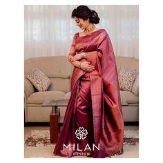 Check out these latest bridal kanchipuram silk sarees by the brand Milan Design. Kerala Wedding Saree, Bridal Sarees South Indian, Indian Wedding Wear, Wedding Silk Saree, Indian Silk Sarees, Indian Bridal Fashion, Kanchipuram Saree Wedding, Indian Designer Outfits, Indian Outfits