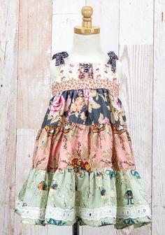 Matilda Jane Platinum A GREAT ADVENTURE TIERED SILLY KNOT DRESS upload April 27 2015