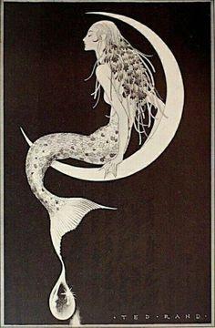 Alphonse Mucha, Tatoo Symbol, Mermaid Fairy, Vintage Mermaid, Vintage Moon, Vintage Art, Arte Sketchbook, Mermaids And Mermen, Mermaid Tattoos