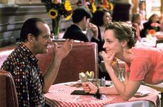"""As Good As It Gets"" movie still, 1997. L to R: Jack Nicholson, Helen Hunt. Both Nicholson and Hunt won Oscars for Best Actor and Actress for this film."
