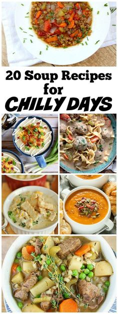20 Soup Recipes to make for Chilly Days. Fall Soup recipes. Winter Soup Recipes. You'll find the following and much more: Tomato Soup Recipe, Baked Potato Soup Recipe, Vegetable Soup Recipe, Butternut Squash Soup Recipe, Chicken Pot Pie Soup Recipe and so many more easy soup recipes!
