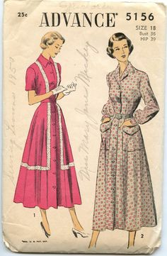 1940s Dress Pattern Advance 5156 Misses Button Front Dress with Embroidered Banding Bust 36 SILK
