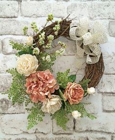 Spring Wreath Front Door Wreath Silk Floral by AdorabellaWreaths by toni Wreath Crafts, Diy Wreath, Grapevine Wreath, Wreath Ideas, Wreath Making, Corona Floral, Beautiful Front Doors, Spring Front Door Wreaths, Spring Wreaths