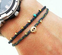 Tiny skull bracelet - 16 k gold plated skull bead on waxed nylon cord  Etsy