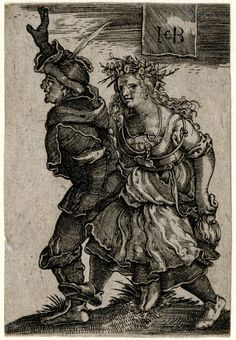 Object typeprint Museum numberGg,4S.20 DescriptionDancing peasant couple; reverse copy after Sebald Beham (Pauli 196); stepping to left; the male figure with a feather on his hat, the female figure at right wearing a wreath. Engraving Producer nameAfter: Sebald Beham biographyPrint made by: Jacob Binck biography School/styleGerman term details Date1522-1561
