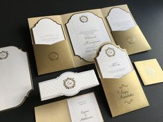 Custom made, letterpress printed pocketfold wedding invitation suit with gold foiled wedding monogram/ initials. Monogram Wedding, Monogram Initials, Gold Wedding, Letterpress Wedding Invitations, Letterpress Printing, Gold Foil, Wedding Inspiration, Suit, Printed