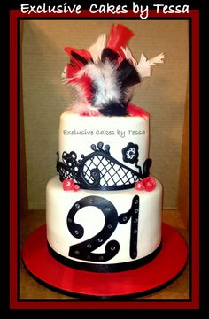 Diamonds & Feathers with fondant lace 21st birthday cake by Exclusive Cakes by Tessa. Fondant Red, black and white.