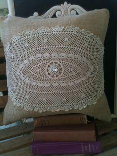burlap,doily and rhinestone pillow