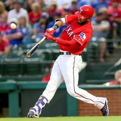 The Texas Rangers' Nomar Mazara connects with a third-inning single against the Baltimore Orioles on Saturday, April 16, 2016, at Globe Life Park in Arlington, Texas. (Steve Nurenberg/Fort Worth Star-Telegram/TNS)