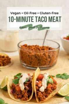 This easy vegan taco meat requires only 10 minutes of cook time and makes 4 – 6 servings! Vegan Meat Recipe, Vegan Entree Recipes, Vegan Recipes Easy Healthy, Vegetarian Mexican Recipes, Beef Recipes, Whole Food Recipes, Fast Recipes, Vegan Food, Healthy Life