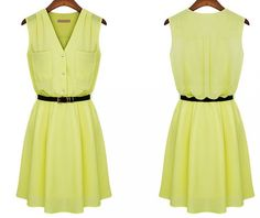 $17.99 Chiffon V-neck Belt For Dress Yellow Army Green