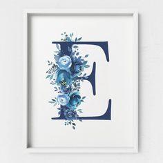 Letter E Monogram Printable Letter Floral Letter Blue Floral Printable Letter Indigo Nursery Baby Monogram Floral Letter Alphabet by DivineDigitalPrints Diy Letters, Floral Letters, Wallpaper Iphone Cute, Cute Wallpapers, E Letter Design, Wedding Vow Art, Small Canvas Art, Floral Printables, Bible Verse Wall Art