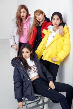 "Blackpink For Guess X Lotte Korea ""Wherever Guess"" 2018 Kpop Girl Groups, Korean Girl Groups, Kpop Girls, Black Pink Lalisa Manoban, Forever Young, Lady Gaga, Memes Blackpink, Jenny Kim, Black"