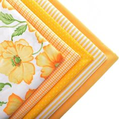 Tela de algodón Tejido Para Hometextile Para Hoja de Material de costura de la Costura Vestido de Muñeca Cojín Bolsas Para 5 unids Amarillo 40 cm x 50 cm