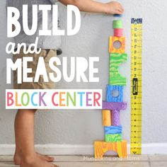 Preschool build and Measure block center | preschool STEM | This measuring tape…